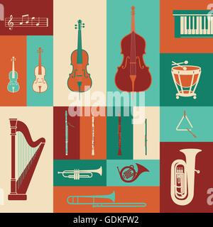 Classical music instruments colorful set, entertainment concept - Stock Photo