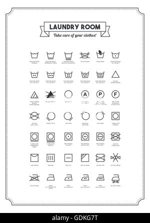 Laundry And Washing Clothes Symbols With Texts Poster Stock Vector