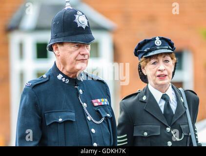 Woodhall Spa 1940s Festival - Policeman and policewoman - Stock Photo