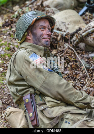 Woodhall Spa 1940s Festival - American soldier looking happy - Stock Photo