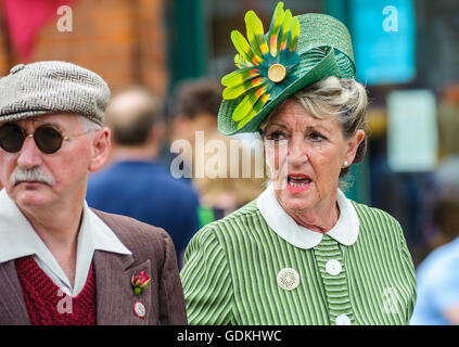 Woodhall Spa 1940s Festival - woman dressed in 1940s style with hat - Stock Photo