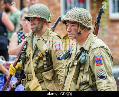 Woodhall Spa 1940s Festival - American soldiers - Stock Photo