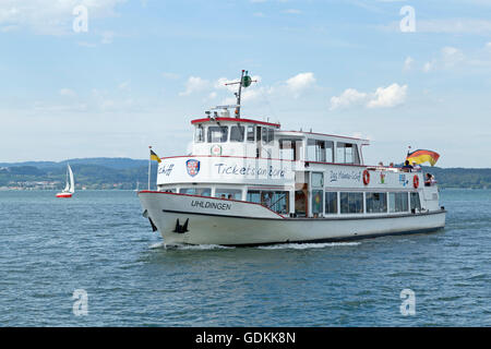 ferry off Mainau Island, Lake Constance, Baden-Wuerttemberg, Germany - Stock Photo