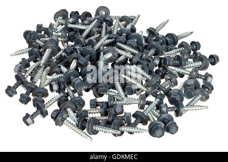 Roof screws with rubber seals isolated on white background. - Stock Photo