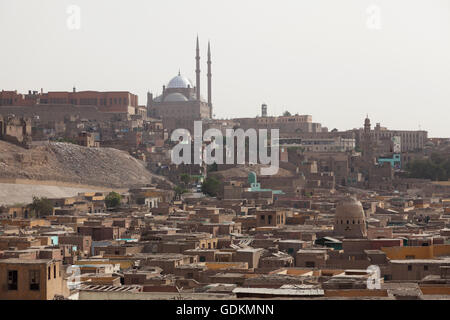 City of the Dead with Muhammad Ali Mosque, Cairo, Egypt. - Stock Photo