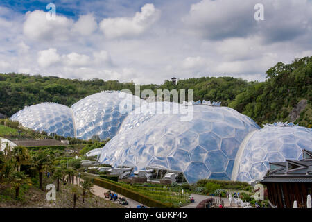 The Biomes at the Eden Project in Cornwall, UK - Stock Photo
