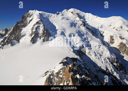 Mont Blanc viewed from Aiguille du Midi, France - Stock Photo
