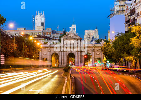 Madrid, Spain cityscape at Puerta de Alcala Gate and Calle de Alcala. - Stock Photo