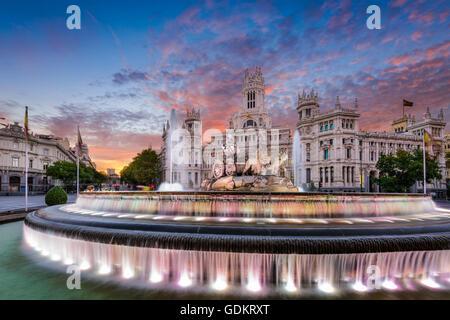 Madrid, Spain at Plaza de Cibeles. - Stock Photo