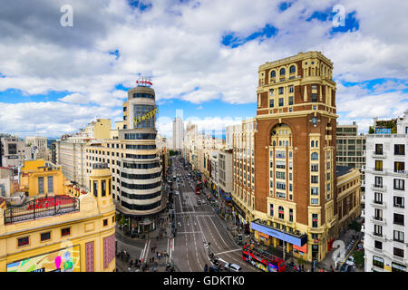 MADRID, SPAIN - OCTOBER 15, 2014: Gran Via at the Iconic Schweppes sign. The street is the main shopping district - Stock Photo