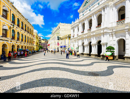 Senado Square in Macau, China. - Stock Photo