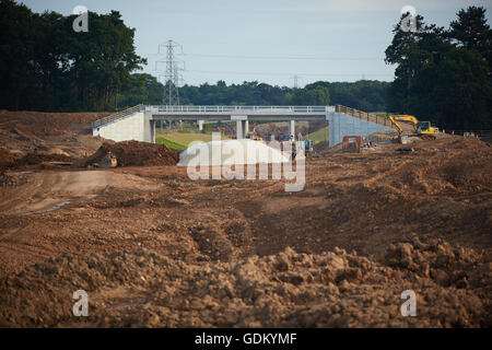 A556 Knutsford to Bowdon Improvement junction 19 M6    Motorway dual carriageway relief road under construction - Stock Photo
