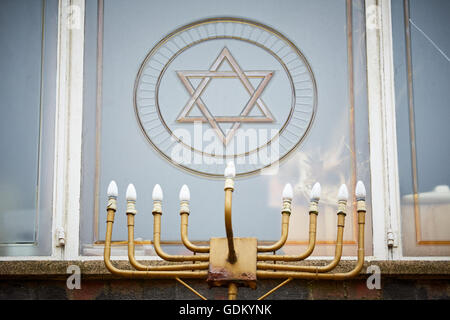 Jewish star of St David in Manchester on Jacksons Lane in the city centre, England , UK - Stock Photo