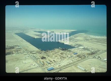 An aerial view of Jebel Ali Free Zone, Abu Dhabi, UAE. - Stock Photo