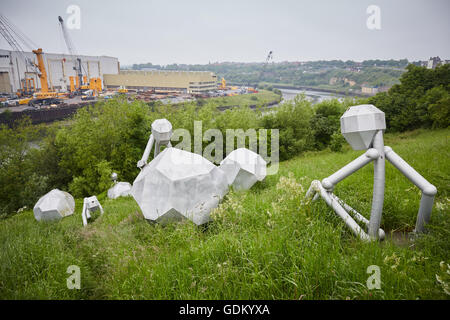 Modern Sculpture near The Stadium of Light Sunderland England installation is entitled 'Men of Steel' by Graeme - Stock Photo