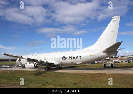US Navy Boeing P-8A Poseidon at Farnborough Airshow UK 2016 - Stock Photo