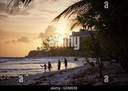 Garrison areas bridgetown beach golden sands clean pretty  Caribbean Sea South West coast resort view Barbados coastline - Stock Photo