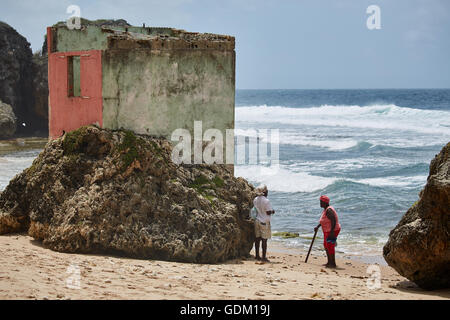 The Lesser Antilles Barbados Parish Saint Michael west indies capital Bridgetown  Barbados golden sand beach with - Stock Photo