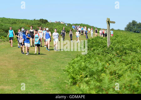 Offa's Dyke Path, Hergest Ridge, Herefordshire, UK  - July 2016 -  A school trip group walk along the long distance - Stock Photo