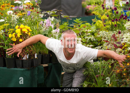 Tatton Park, Knutsford, UK. 19th July, 2016. Mark (Bez) Berry of the 'Happy Mondays' visits the Tatton Park Flower - Stock Photo