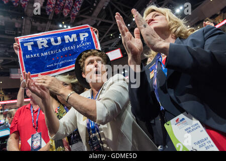 Cleveland, Ohio, USA. 19th July, 2016. New York delegates celebrate the nomination of Donald Trump during the second - Stock Photo