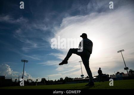 Daytona Beach, Florida, USA. 11th July, 2016. WILL VRAGOVIC | Times.Tampa Bay Rays starting pitcher Alex Cobb gets - Stock Photo