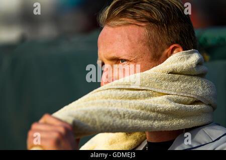 Daytona Beach, Florida, USA. 11th July, 2016. WILL VRAGOVIC | Times.Tampa Bay Rays starting pitcher Alex Cobb watches - Stock Photo