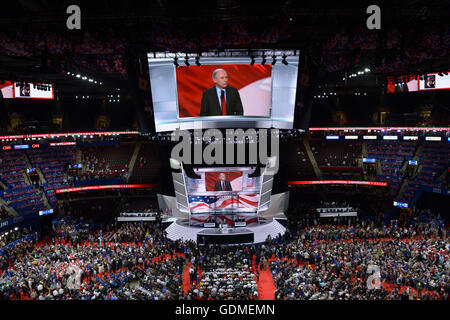 Cleveland. 19th July, 2016. Photo taken on July 19, 2016 shows the scene of the Republican National Convention in - Stock Photo