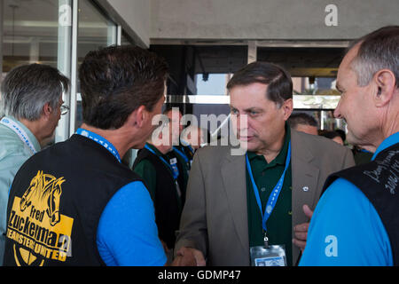 Las Vegas, Nevada - Fred Zuckerman talks with supporters during the Teamsters Union's convention. - Stock Photo