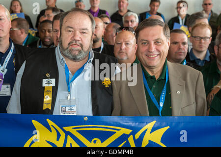 Las Vegas, Nevada - Fred Zuckerman (right), reform candidate for Teamsters president, and his running mate, Tim - Stock Photo