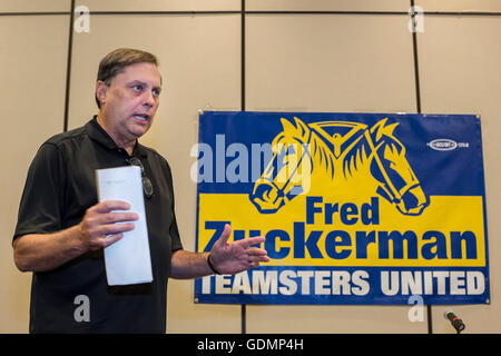 Las Vegas, Nevada - Fred Zuckerman speaks to supporters during the Teamsters Union's convention.. - Stock Photo
