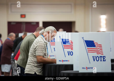 Las Vegas, Nevada - Delegates to the Teamsters Union convention vote to nominate candidates in the union's 2016 - Stock Photo