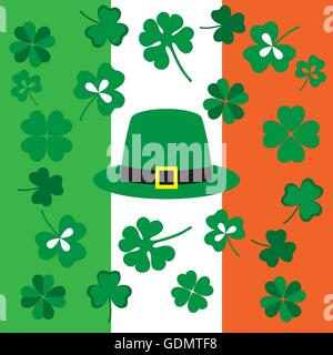 Picture from symbols of the St. Patrick's Day on the background of the Irish flag colors - Stock Photo