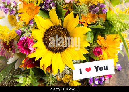 I Love You Card with Bouquet of Summer Flowers. - Stock Photo