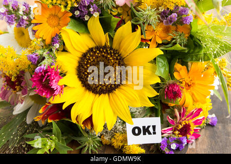 OK Card with Bouquet of Summer Flowers. - Stock Photo