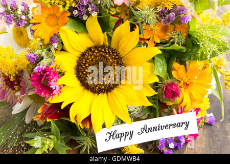 Happy Anniversary Card with Bouquet of Summer Flowers. - Stock Photo