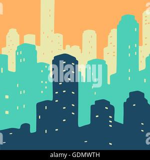 Vector Illustration City Doodle - Stock Photo