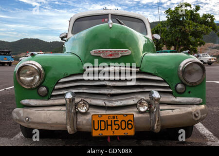Chevrolet, green, vintage cars from the 40s, in Santiago de Cuba, Santiago de Cuba Province, Cuba - Stock Photo