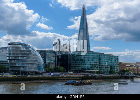 City Hall and the Shard.London UK. - Stock Photo