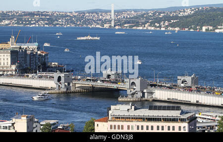 Golden Horn and Bosphorus Strait in Istanbul City, Turkey - Stock Photo