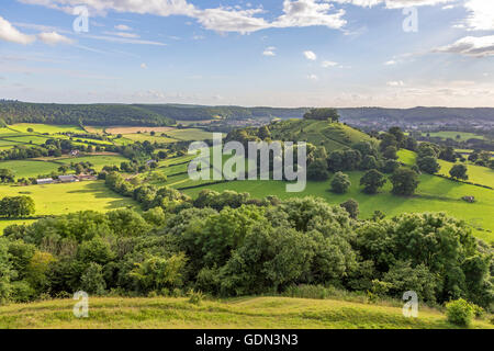Late afternoon light over Downham Hill from Uley Bury hillfort near Dursley, Gloucestershire, England,UK - Stock Photo