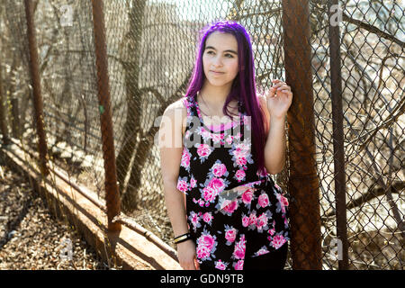 girl outside portrait with purple hair - Stock Photo