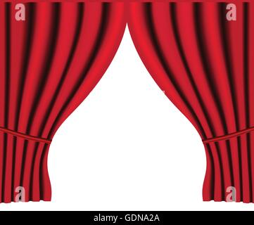 Theater stage with red curtain vector background for poster - Stock Photo