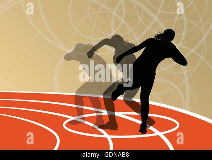 Active shot putter woman sport athletics ball throwing silhouettes abstract illustration background vector - Stock Photo