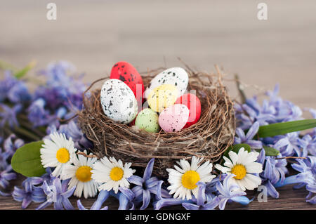 Different color Easter eggs in a nest among flowers - Stock Photo