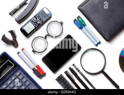 Black student supplies isolated on white background. Office stationery. Top view - Stock Photo