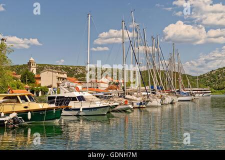 ACI marina in the town of Skradin up the River Cikola, beyond Sibenik, and the start of the Krka National Park, - Stock Photo