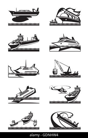 Maritime accidents with merchant and cruise ships - vector illustration - Stock Photo