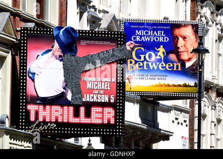 London, England, UK. Shaftesbury Avenue - 'Thriller' at the Lyric Theatre; The Go-Between at the Apollo - Stock Photo