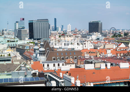 Panorama off north tower of St. Stephen's Cathedral in Vienna: Danube Tower, Media Tower, Design Tower, DC Tower, - Stock Photo